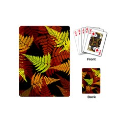 3d Red Abstract Fern Leaf Pattern Playing Cards (mini)