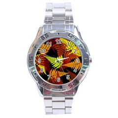 3d Red Abstract Fern Leaf Pattern Stainless Steel Analogue Watch