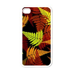 3d Red Abstract Fern Leaf Pattern Apple Iphone 4 Case (white)