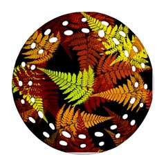 3d Red Abstract Fern Leaf Pattern Ornament (Round Filigree)