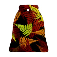 3d Red Abstract Fern Leaf Pattern Ornament (Bell)