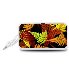 3d Red Abstract Fern Leaf Pattern Portable Speaker (white)