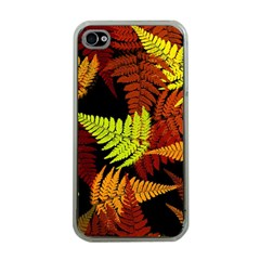 3d Red Abstract Fern Leaf Pattern Apple Iphone 4 Case (clear)