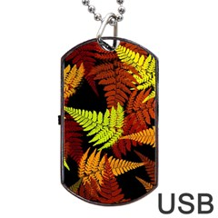 3d Red Abstract Fern Leaf Pattern Dog Tag Usb Flash (two Sides)