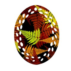 3d Red Abstract Fern Leaf Pattern Oval Filigree Ornament (two Sides)