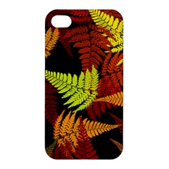 3d Red Abstract Fern Leaf Pattern Apple Iphone 4/4s Hardshell Case
