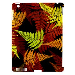 3d Red Abstract Fern Leaf Pattern Apple Ipad 3/4 Hardshell Case (compatible With Smart Cover)