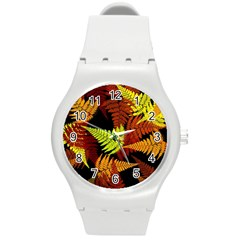 3d Red Abstract Fern Leaf Pattern Round Plastic Sport Watch (M)
