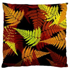 3d Red Abstract Fern Leaf Pattern Large Cushion Case (one Side)