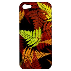 3d Red Abstract Fern Leaf Pattern Apple Iphone 5 Hardshell Case