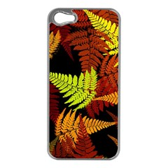 3d Red Abstract Fern Leaf Pattern Apple Iphone 5 Case (silver)