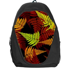 3d Red Abstract Fern Leaf Pattern Backpack Bag