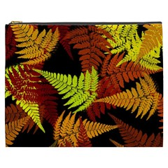 3d Red Abstract Fern Leaf Pattern Cosmetic Bag (xxxl)