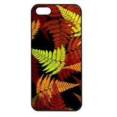 3d Red Abstract Fern Leaf Pattern Apple Iphone 5 Seamless Case (black)