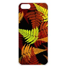 3d Red Abstract Fern Leaf Pattern Apple Iphone 5 Seamless Case (white)