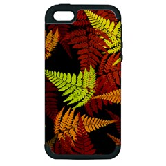 3d Red Abstract Fern Leaf Pattern Apple Iphone 5 Hardshell Case (pc+silicone)
