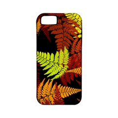 3d Red Abstract Fern Leaf Pattern Apple Iphone 5 Classic Hardshell Case (pc+silicone)
