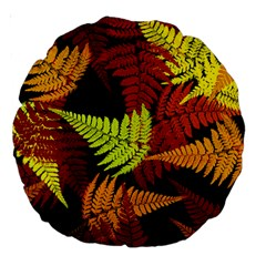3d Red Abstract Fern Leaf Pattern Large 18  Premium Round Cushions