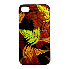 3d Red Abstract Fern Leaf Pattern Apple Iphone 4/4s Hardshell Case With Stand