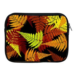 3d Red Abstract Fern Leaf Pattern Apple iPad 2/3/4 Zipper Cases