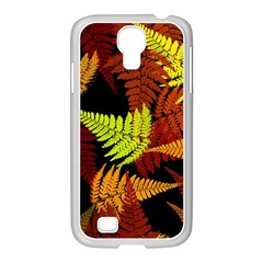 3d Red Abstract Fern Leaf Pattern Samsung GALAXY S4 I9500/ I9505 Case (White)