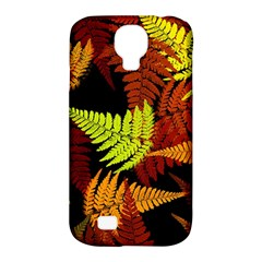 3d Red Abstract Fern Leaf Pattern Samsung Galaxy S4 Classic Hardshell Case (PC+Silicone)