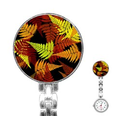 3d Red Abstract Fern Leaf Pattern Stainless Steel Nurses Watch