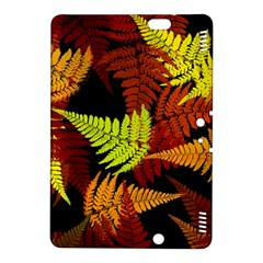 3d Red Abstract Fern Leaf Pattern Kindle Fire Hdx 8 9  Hardshell Case