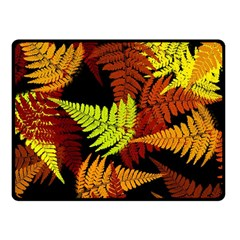 3d Red Abstract Fern Leaf Pattern Double Sided Fleece Blanket (small)