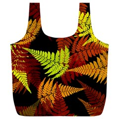 3d Red Abstract Fern Leaf Pattern Full Print Recycle Bags (L)