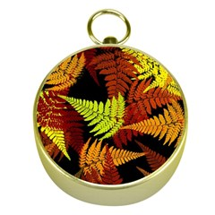 3d Red Abstract Fern Leaf Pattern Gold Compasses