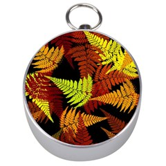 3d Red Abstract Fern Leaf Pattern Silver Compasses