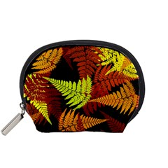 3d Red Abstract Fern Leaf Pattern Accessory Pouches (Small)