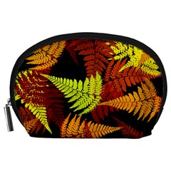 3d Red Abstract Fern Leaf Pattern Accessory Pouches (large)