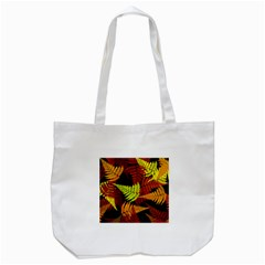 3d Red Abstract Fern Leaf Pattern Tote Bag (white)