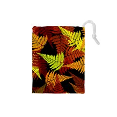 3d Red Abstract Fern Leaf Pattern Drawstring Pouches (small)