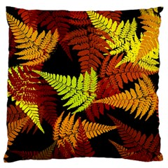 3d Red Abstract Fern Leaf Pattern Large Flano Cushion Case (Two Sides)