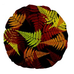 3d Red Abstract Fern Leaf Pattern Large 18  Premium Flano Round Cushions