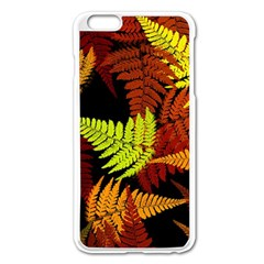 3d Red Abstract Fern Leaf Pattern Apple iPhone 6 Plus/6S Plus Enamel White Case