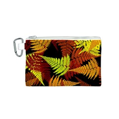 3d Red Abstract Fern Leaf Pattern Canvas Cosmetic Bag (s)