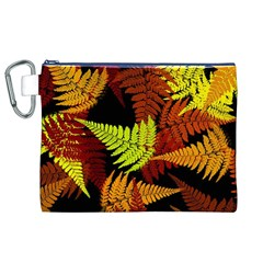 3d Red Abstract Fern Leaf Pattern Canvas Cosmetic Bag (xl)