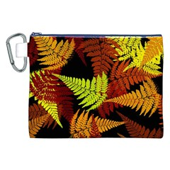 3d Red Abstract Fern Leaf Pattern Canvas Cosmetic Bag (XXL)