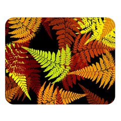 3d Red Abstract Fern Leaf Pattern Double Sided Flano Blanket (large)