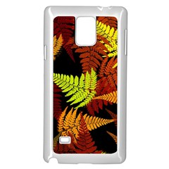3d Red Abstract Fern Leaf Pattern Samsung Galaxy Note 4 Case (White)