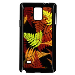 3d Red Abstract Fern Leaf Pattern Samsung Galaxy Note 4 Case (Black)