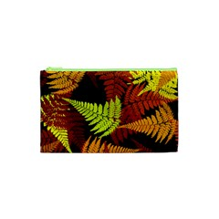 3d Red Abstract Fern Leaf Pattern Cosmetic Bag (xs)