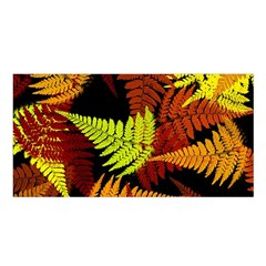 3d Red Abstract Fern Leaf Pattern Satin Shawl
