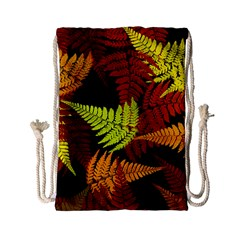 3d Red Abstract Fern Leaf Pattern Drawstring Bag (small)