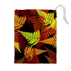 3d Red Abstract Fern Leaf Pattern Drawstring Pouches (extra Large)