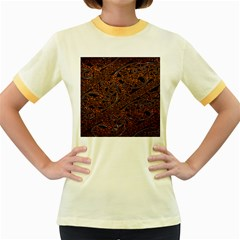 Art Traditional Indonesian Batik Pattern Women s Fitted Ringer T Shirts